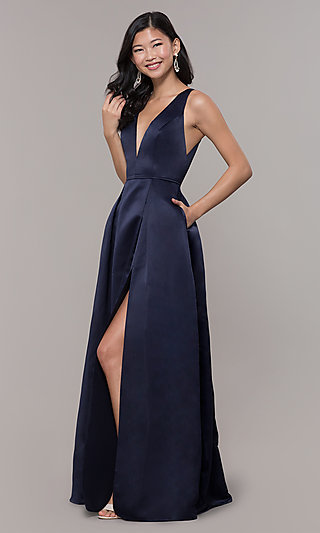 Navy Blue V-Neck Long Formal Satin Dress