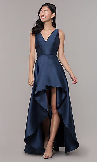 Long Satin High-Low V-Neck Prom Dress