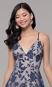 Image of long formal prom dress with glitter floral print.  Style: LP-PL-27509-1 Detail Image 1