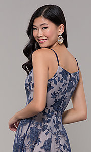 Image of long formal prom dress with glitter floral print.  Style: LP-PL-27509-1 Detail Image 2