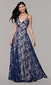 Image of long formal prom dress with glitter floral print.  Style: LP-PL-27509-1 Front Image