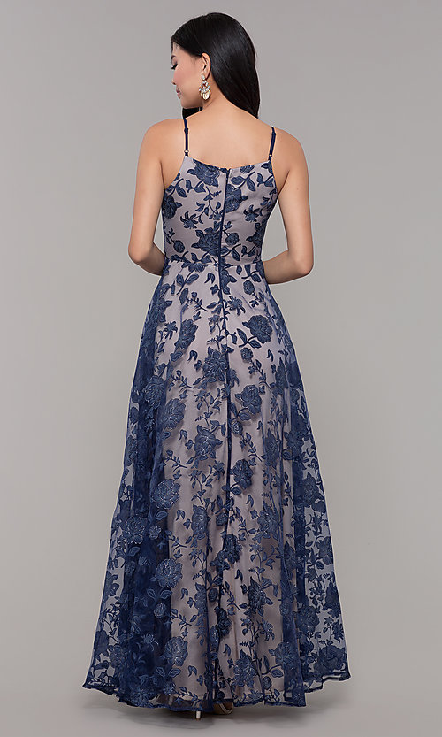 Image of long formal prom dress with glitter floral print.  Style: LP-PL-27509-1 Back Image