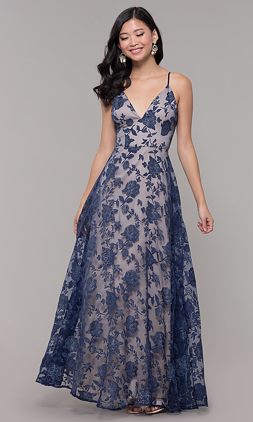 Image of long formal prom dress with glitter floral print.  Style: LP-PL-27509-1 Detail Image 3
