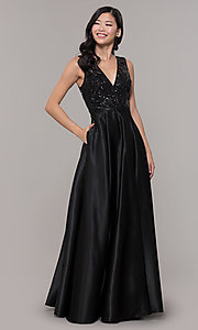 Image of black satin long prom dress with sequin bodice. Style: LP-PL-26127 Front Image