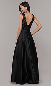 Image of black satin long prom dress with sequin bodice. Style: LP-PL-26127 Back Image
