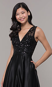 Image of black satin long prom dress with sequin bodice. Style: LP-PL-26127 Detail Image 1