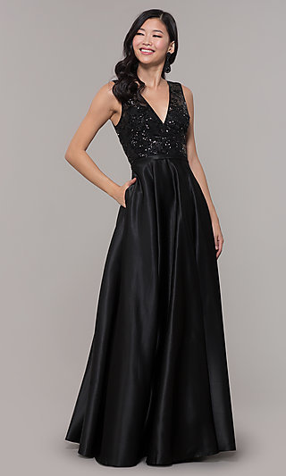 Black Satin Long Prom Dress with Sequin Bodice