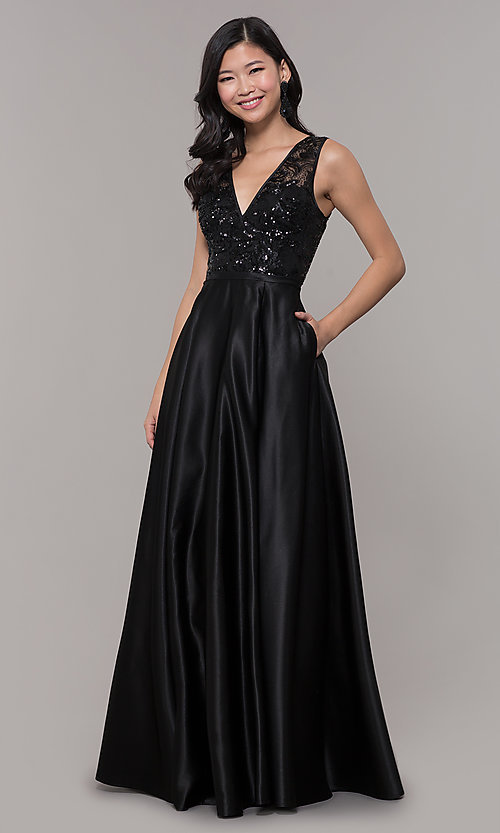 Image of black satin long prom dress with sequin bodice. Style: LP-PL-26127 Detail Image 3