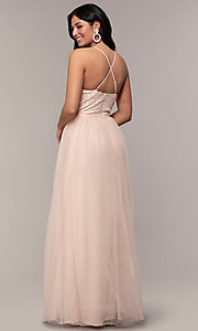 Image of long tulle v-neck lace-bodice formal prom dress. Style: LP-PL-25769 Back Image