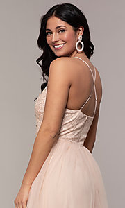 Image of long tulle v-neck lace-bodice formal prom dress. Style: LP-PL-25769 Detail Image 2