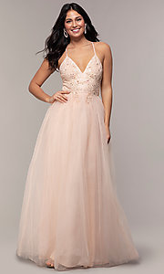 Image of long tulle v-neck lace-bodice formal prom dress. Style: LP-PL-25769 Front Image