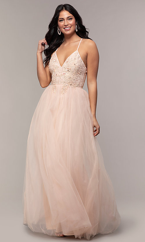 Image of long tulle v-neck lace-bodice formal prom dress. Style: LP-PL-25769 Detail Image 3