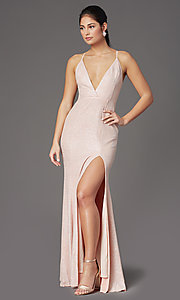 Image of v-neck long glitter prom dress in blush pink. Style: LP-PL-26116 Detail Image 2