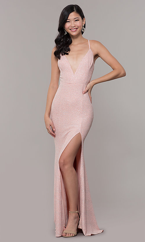 f09bd0437b0 Image of v-neck long glitter prom dress in blush pink. Style: LP