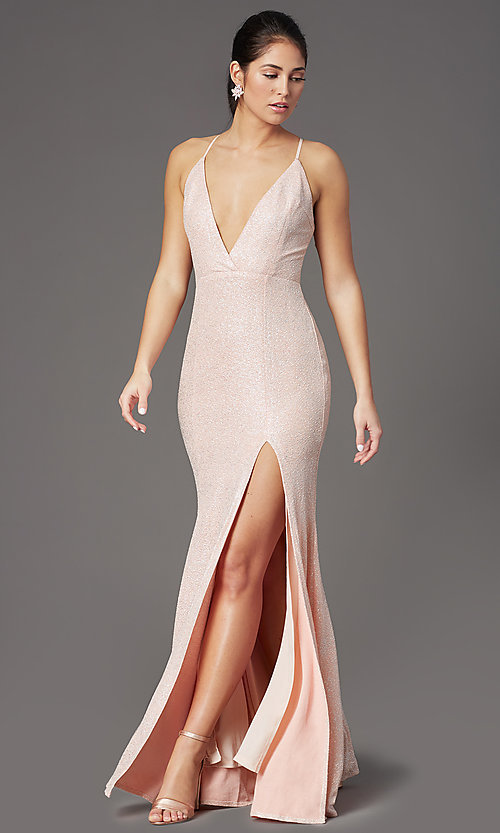 Image of v-neck long glitter prom dress in blush pink. Style: LP-PL-26116 Front Image