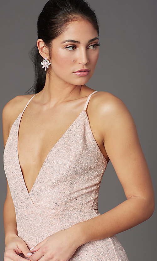 Image of v-neck long glitter prom dress in blush pink. Style: LP-PL-26116 Detail Image 1
