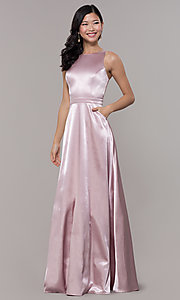 Image of high-neck long satin a-line prom dress with pockets. Style: LP-PL-27080-1 Front Image