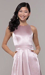 Image of high-neck long satin a-line prom dress with pockets. Style: LP-PL-27080-1 Detail Image 1