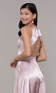 Image of high-neck long satin a-line prom dress with pockets. Style: LP-PL-27080-1 Detail Image 2