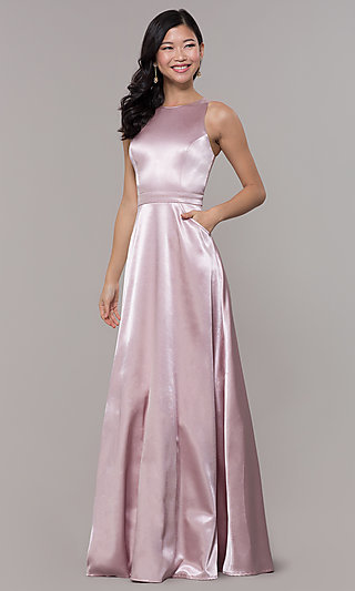 High-Neck Long Satin A-Line Prom Dress with Pockets