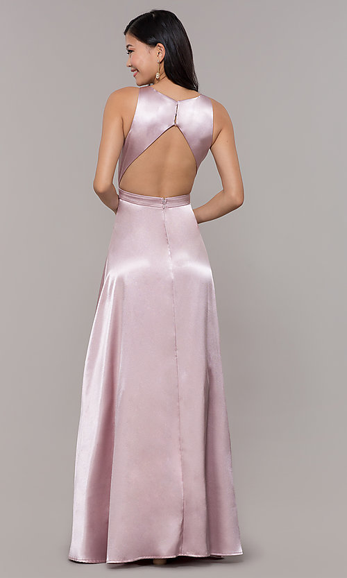 Image of high-neck long satin a-line prom dress with pockets. Style: LP-PL-27080-1 Back Image