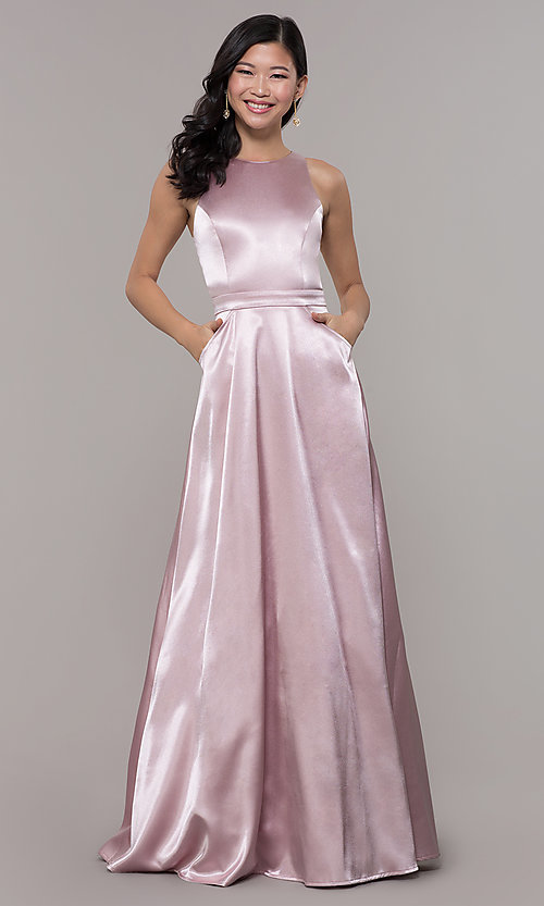 Image of high-neck long satin a-line prom dress with pockets. Style: LP-PL-27080-1 Detail Image 3