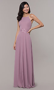 Image of long embroidered-waist high-neck prom dress. Style: LP-PL-26115 Detail Image 4