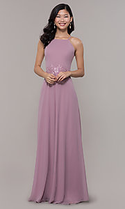 Image of long embroidered-waist high-neck prom dress. Style: LP-PL-26115 Detail Image 8