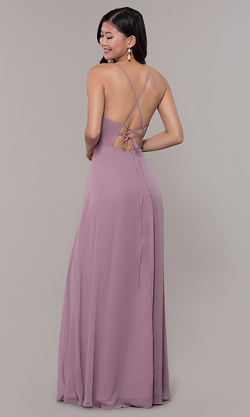 Image of long embroidered-waist high-neck prom dress. Style: LP-PL-26115 Detail Image 5