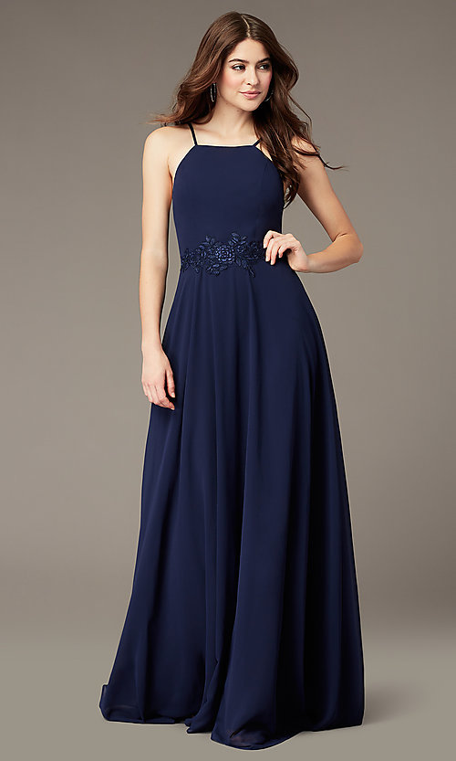 Image of long embroidered-waist high-neck prom dress. Style: LP-PL-26115 Front Image