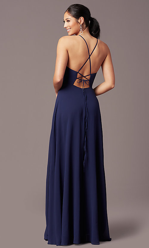 Image of long embroidered-waist high-neck prom dress. Style: LP-PL-26115 Back Image