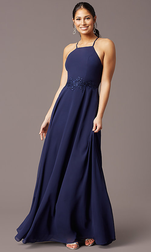 Image of long embroidered-waist high-neck prom dress. Style: LP-PL-26115 Detail Image 2