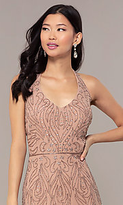 Image of long cut-out beaded formal prom dress in Rose Gold. Style: HOW-APPBM-40165 Detail Image 1
