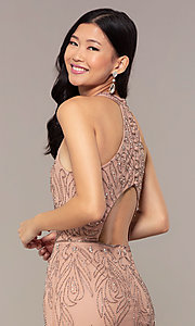 Image of long cut-out beaded formal prom dress in Rose Gold. Style: HOW-APPBM-40165 Detail Image 2