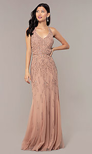 Image of long cut-out beaded formal prom dress in Rose Gold. Style: HOW-APPBM-40165 Detail Image 3