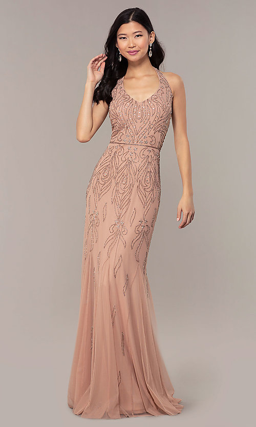 Image of long cut-out beaded formal prom dress in Rose Gold. Style: HOW-APPBM-40165 Front Image