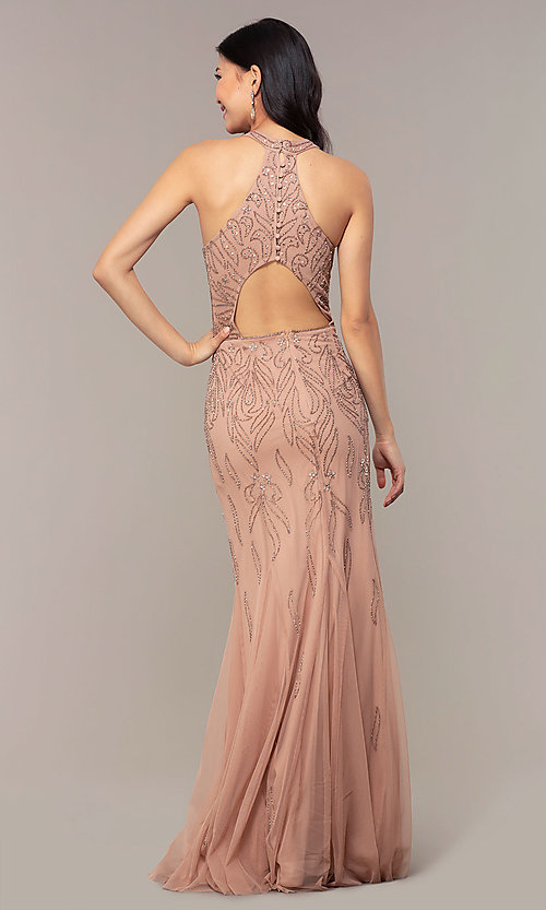 Image of long cut-out beaded formal prom dress in Rose Gold. Style: HOW-APPBM-40165 Back Image