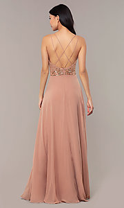 Image of rose gold long formal dress with beaded bodice. Style: HOW-APPBM-40179 Back Image