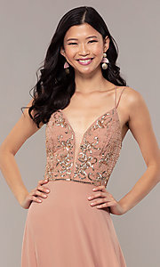 Image of rose gold long formal dress with beaded bodice. Style: HOW-APPBM-40179 Detail Image 1