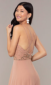 Image of rose gold long formal dress with beaded bodice. Style: HOW-APPBM-40179 Detail Image 2
