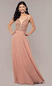 Image of rose gold long formal dress with beaded bodice. Style: HOW-APPBM-40179 Detail Image 3