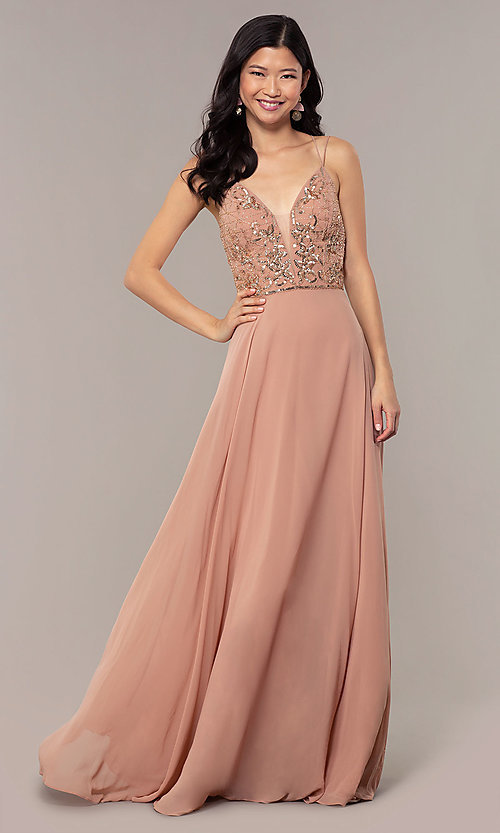 Image of rose gold long formal dress with beaded bodice. Style: HOW-APPBM-40179 Front Image