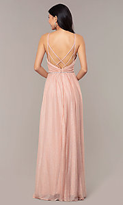 Image of strappy-open-back glitter long formal prom dress. Style: HOW-CWC-22888 Detail Image 5