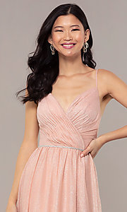 Image of strappy-open-back glitter long formal prom dress. Style: HOW-CWC-22888 Detail Image 6