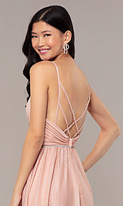 Image of strappy-open-back glitter long formal prom dress. Style: HOW-CWC-22888 Detail Image 7