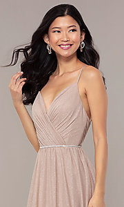Image of strappy-open-back glitter long formal prom dress. Style: HOW-CWC-22888 Detail Image 1