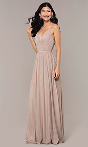 Image of strappy-open-back glitter long formal prom dress. Style: HOW-CWC-22888 Detail Image 3