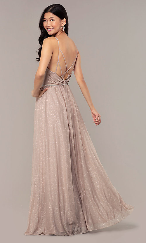 Image of strappy-open-back glitter long formal prom dress. Style: HOW-CWC-22888 Back Image