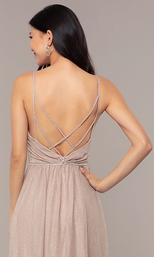 Image of strappy-open-back glitter long formal prom dress. Style: HOW-CWC-22888 Detail Image 2