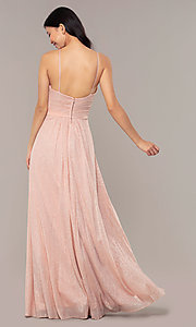 Image of ruched-bodice long formal dress in glitter chiffon. Style: HOW-CWC-22879 Back Image